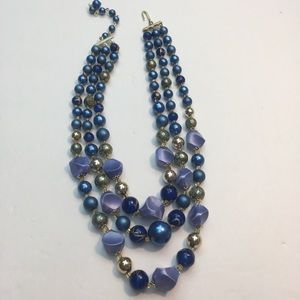 Vintage blue & gold beaded multi strand necklace
